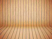 Curved wooden background interior. Vector Stock Image