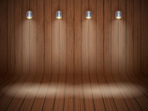 Curved wooden background with spotlights Royalty Free Stock Image