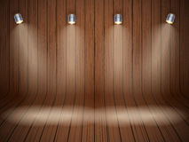 Curved wooden background with spotlights Royalty Free Stock Photography