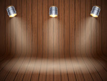 Curved wooden background with spotlights Royalty Free Stock Photos