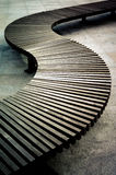 Curved wooden boarded bench 2 Stock Photography