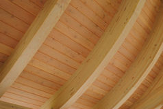 Curved Wooden Ceiling. Light colored curved wooden ceiling royalty free stock images