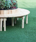 Curved wooden seat Royalty Free Stock Images