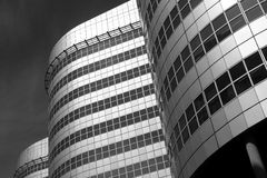 Curves. Black and white image of modern curved buildings, located in Rotterdam Royalty Free Stock Photos