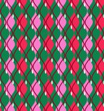 Curves, abstract, decorative background, seamless, green, vector. The vertical pink and red diamonds with rounded corners on a green field. Geometric background Royalty Free Stock Photo