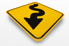 Curves Ahead Sign. Curves ahead road sign on a white background Stock Images