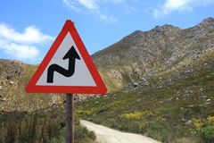 Curves Ahead Warning Sign Royalty Free Stock Image
