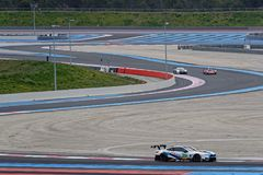Curves in Circuit Paul Ricard. LE CASTELLET, FRANCE, April 7, 2018 : Racing cars and teams during the training sessions for World Endurance Car Championship Stock Image
