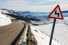 Curves. Dangerous curves on a mountain road Royalty Free Stock Images