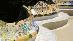 Curves of Gaudi bench Royalty Free Stock Image
