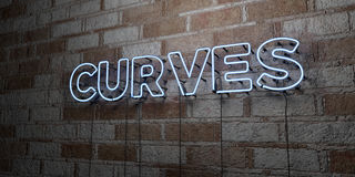 CURVES - Glowing Neon Sign on stonework wall - 3D rendered royalty free stock illustration Stock Photography