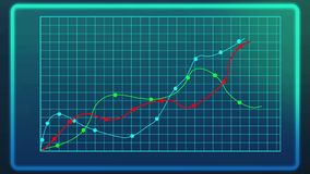 Curves showing industrial growth on line chart, computer data graph, statistics stock illustration