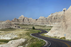 Curveyweg door Badlands van Zuid-Dakota Royalty-vrije Stock Afbeelding