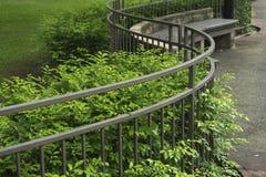 Curvi il recinto e gli alberi verdi nel parco fotografia stock libera da diritti
