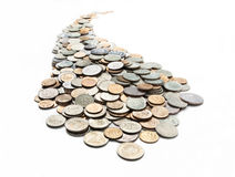 The curvilinear trajectory of the coins Stock Photo