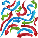 Curving 3D Arrows. Set of 3D (three dimensional) curving arrows in blue, red, and green Royalty Free Stock Images