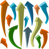 Curving 3D Arrows. Set of 3D curving arrows Royalty Free Stock Photography