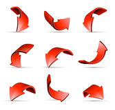 Curving directional arrows. Set of nine curving red directional arrows, isolated on white background Stock Photo