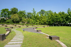 Curving flagstone path in grassy lawn on sunny summer day Royalty Free Stock Images