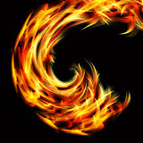 Curving flames. Illustration of curving flames on black background Royalty Free Stock Photography