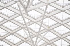 Curving glass ceiling and girder Royalty Free Stock Photos
