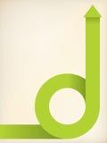 Curving green arrow shaped ribbon Royalty Free Stock Photo