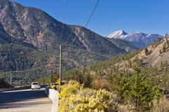 Curving highway and mountains. Highway curving through mountains near Lytton in the interior of BC, Canada Stock Photo
