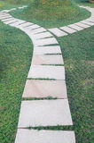 Curving pavement. Curving stone pavement footpath in the garden meadow royalty free stock images