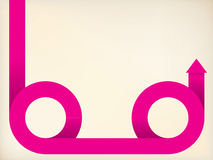 Curving pink arrow shaped ribbon Stock Image