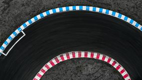 Curving race track view from above, Aerial view car race asphalt track and curve.  stock image