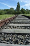 Curving Railroad Track. Railroad track curving into a wooded area Royalty Free Stock Photos