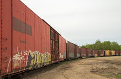 Curving railway cars Stock Images