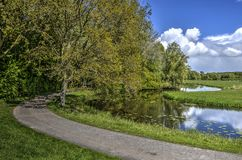 Curving road and canal. Narrow asphalt road and canal curving thorugh a landscape with fields and forests in Biesbosch nature reserve in the Netherlands stock images