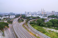 Curving Road Towards Kuala Lumpur Royalty Free Stock Photo