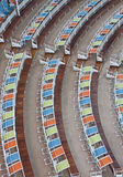 Curving Rows of Colorful Chairs Stock Image
