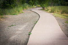 Curving Sidewalk. A curving sidewalk with gravel and tall grass on the sides Royalty Free Stock Image