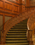 Curving Staircase With Green Carpet Stock Photos
