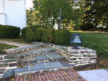 Curving stone steps in garden Royalty Free Stock Photos