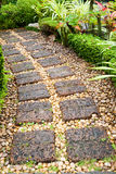 Curving Stone walkway in the garden royalty free stock photography