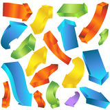 Curving Thick 3D Arrows. Set of thick 3D curving arrows Royalty Free Stock Image