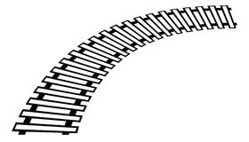 Curving train track, rail track silhouette isolated Stock Photography