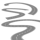 Curving winding road or highway with center cartoon illustration isolated on white Royalty Free Stock Photo