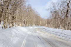 Curving Winter Road Through a Forest Royalty Free Stock Image