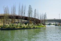 Curving wooden footbridge and concrete highway bridge at sunny w Stock Image
