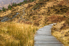 Curving Wooden Walkway along a Mountain Path Stock Photo