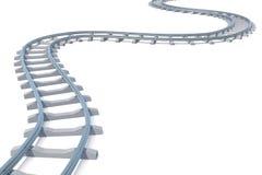 Curvo, binario ferroviario della curvatura isolato su fondo bianco illustrazione 3D illustrazione vettoriale