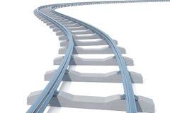 Curvo, binario ferroviario della curvatura isolato su fondo bianco illustrazione 3D illustrazione di stock