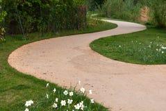 Curvy песочный путь на зеленой траве стоковое изображение