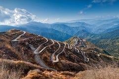 Curvy трасса дороги, Silk торговой операции между Китаем и Индия Стоковые Фотографии RF