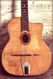 Gypsy Jazz Acoustic Guitar Vintage and Worn  with Wear and Music Notes Wallpaper